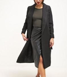 Topshop NEAT Płaszcz wełniany czarny klasyczny black