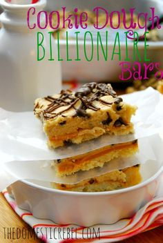 Cookie Dough Billionaire Bars from TheDomesticRebel.com