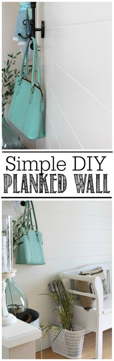 Easy DIY planked wall tutorial using trim - an inexpensive way to add that farmhouse style to your home. #OMHGWW