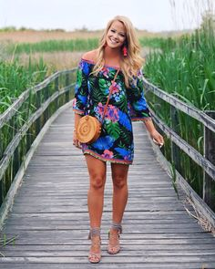 3b030e0520d929 All the tropical vibes🌴🌺 in this off the shoulder dress from my favorite  boutique