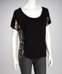 Take a look at this Black Leopard Lace Top by Star Vixen on #zulily today!