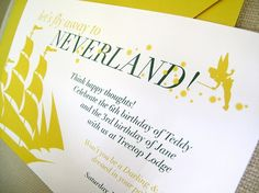 neverland party invitation Could be a nautical theme - Fly Away to Neverland