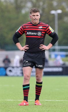 Owen Farrell of Saracens looks dejected during the Aviva Premiership semi final match between Saracens and Northampton Saints at Allianz Park on May 12, 2013 in Barnet, England.