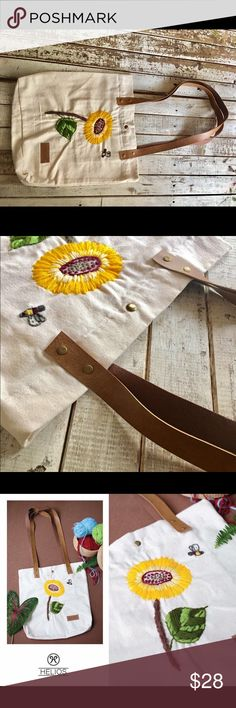 Sunflower embroidered handmade tote bag Brand new handmade item! Leather strap! handmade Bags Totes