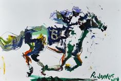 Abstract Expressive Horse Racing Painting, painting by artist Robert Joyner