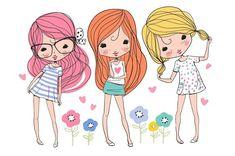 Cartoon Drawings cute girls, beautiful romantic girls by NatalyS on Cute Girl Illustration, Illustration Mignonne, Cartoon Drawings, Cute Drawings, Romantic Girl, Painting For Kids, Cute Cartoon, Paper Dolls, Cute Girls