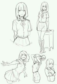 Drawing poses, manga school, anime school girl, anime girls, anime poses re Manga Drawing, Manga Art, Drawing Sketches, Drawing Tips, Anime Art, Art Drawings, Drawing Ideas, Best Anime Drawings, Human Drawing