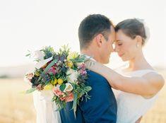 Wedding in Greece, my beautiful bride with a big colorful bouquet in the sunset. Wedding Blog, Wedding Photos, Wedding Day, Whimsical Wedding, Floral Wedding, Two Brides, Greece Wedding, Bride Photography, Celebrity Weddings