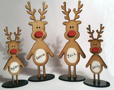Handmade Personalised Christmas Family of Reindeer Cute Christmas decoration or gift There are 2 sizes available. The adult reindeers are approximately 15cm tall and the child reindeers are 10cm tall. They are laser Cut from 3mm MDF When you have ordered add a note or message me the with the names required on each reindeer Please feel free to contact me with any questions or custom orders you may have.
