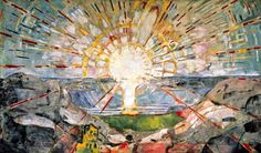 Edvard Munch - The Sun, 1909 _ The Sun is perhaps the greatest achievement of modern mural painting. Illuminated by the sunrays are the water of the ocean, the bare rocks of a Northern landscape, and a slim strip of verdant green that separated land and sea. A clean, straight horizon line divides the waters from sky. The great sun is all-pervasive, shinning from the heavens upon land and sea, its rays reaching out to all eternity. Inhuman itself, it is the source of all life.