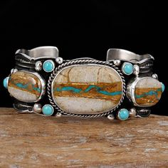 GUY HOSKIE Navajo Natural ROYSTON RIBBON Turquoise Bracelet Sterling Silver