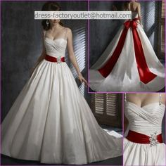 My Fiery gown! A-line Ivory Wedding Dress with Red Bow #myhofweddinglook