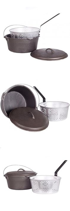 Cajun Cookware Dutch Ovens With Fry Basket 9 Quart Cast Iron Dutch Oven