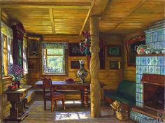 old-fashioned russian mostly wood kitchen