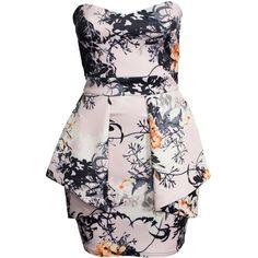 Boohoo Printed Pleated Peplum Bandeau Dress ($27) ❤ liked on Polyvore featuring dresses, multi, party dresses, womens-fashion, ruffle dress, tall dresses, pink pleated dress, boohoo dresses and pleated dress