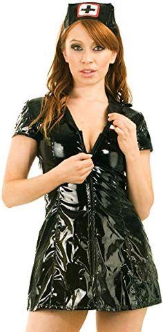 One Size NEW RRP £30 Latex Fancy Dress Nurse Mask Black Red
