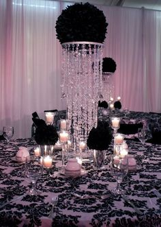 classy black and white theme centerpieces