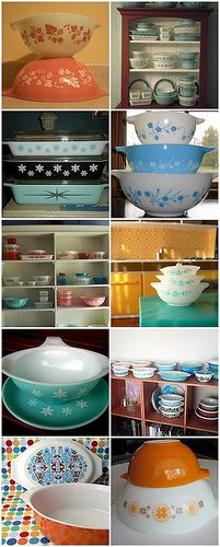 Pyrex -vintage dishes These have always been my choice of dish for cooking or baking with. Love them