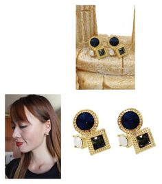 """Fashion golden rim blue crystal earrings"" by oceanfashion on Polyvore"