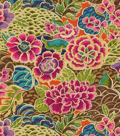 Floral upholstery fabric, Flowing graceful floral design with charming colors. Content: 100% Cotton Width: 54 inches Fabric Type: Print Upholstery Grade: N/A Horizontal Repeat: N/A Vertical Repeat: 25