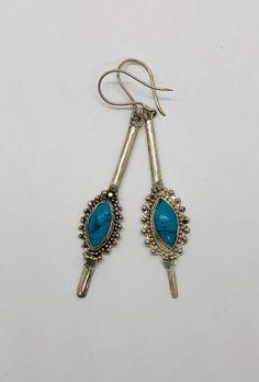 Vintage Turquoise, Turquoise Jewelry, Handmade Sterling Silver, Western Style, Fashion Earrings, Jewelry Ideas, Dangle Earrings, Gypsy, Piercings