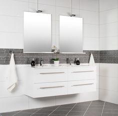 White matt rectified - Fliser til baderom - Fliser, stein & tilbehør - MegaFlis. Double Vanity, Bathroom, Products, Modern, Washroom, Full Bath, Bath, Bathrooms, Gadget