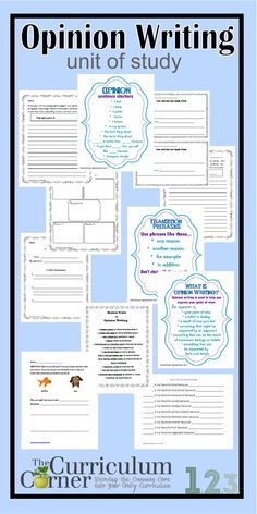 Opinion Writing Unit of Study by The Curriculum Corner - anchor charts, prompts, sentence starters, and whole class activities All free - designed for and grade classrooms. Opinion Writing, Writing Words, Writing Lessons, Writing Resources, Teaching Writing, Writing Activities, Writing Skills, Class Activities, Writing Ideas