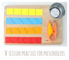 Scissor Practice for Preschoolers. Perfect way to start scissor practice for curious preschoolers who want to use mommy's scissors all the time. An excellent tip on how to make them sit at one place and master their fine motor skills by using scissors for cutting.