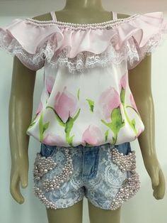 Crop Top and Skirt Sets - Girl  Anjo D'agua Moda Infantil 6236
