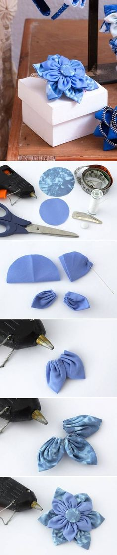 How to make Beautiful Cloth Flower step by step DIY instructions ... I love this! See more awesome stuff at http://craftorganizer.org