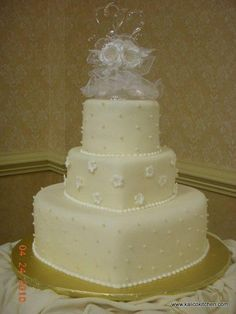 Wedding Cakes- 3 tier, fondant, white, heart shaped, sugar pearls and flowers