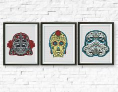 Set, Star Wars Cross Stitch Pattern, Darth Vader, C3PO, Storm Trooper, StarWars Sugar Skull Counted Cross Stitch Chart, PDF Instant Download by ElCrossStitch on Etsy