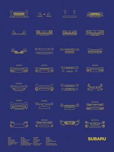 Models shown: 1954 P-1 / 1958 360 1961 SAMBAR / 1966 1000 / 1969 R-2 / 1971 LEONE / 1972 REX / 1978 BRAT / 1985 XT ALCYONE / 1989 LEGACY RS TYPE RA / 1991 SVX ALCYONE / 1992 VIVIO RX-R / 1992 IMPREZA