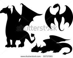Dragon Silhouettes Stock Vector 50757085 : Shutterstock