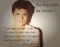 Peeta's character demonstrates individuality. Fans can relate to his character as their generation consists of acceptance of others.