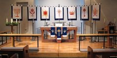 This church has a beautiful set of banners depicting the O Antiphons. Sometimes I wish I attended a church that had more symbolism like this. Episcopal Church, Lutheran, Advent Symbols, Church Banners Designs, Christmas Banners, Christmas Decor, Worship, Photo Wall, Inspiration