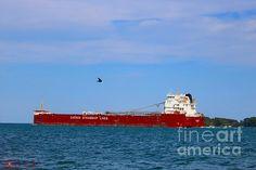 Canada Steamship Lines by Michael Rucker Great Lakes Ships, Windsor Ontario, Lake Huron, Montreal Quebec, Golden Gate Bridge, Michigan, Canada, America, River