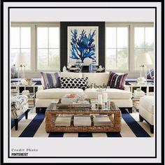 31 trendy home design luxury decor Beach Living Room, Coastal Living Rooms, Rugs In Living Room, Living Room Furniture, Living Room Decor, Room Rugs, Coastal Furniture, Black Furniture, House Furniture