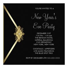 black new years eve party 525x525 square paper invitation card custom invitations