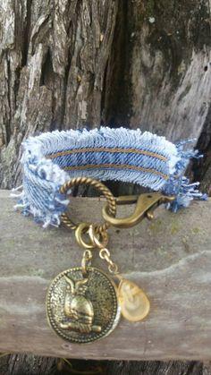 Frayed Denim Bracelet with Owl and Stone Charms by DenimReDooz