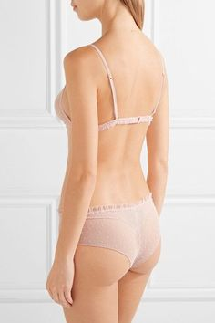 La Perla - Plumetis Ruffle-trimmed Stretch Point D'esprit Tulle Briefs - Pastel pink - 3