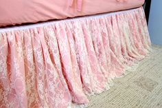 Peach and Ivory Lace Crib Skirt by WHIMSICALandWITTY on Etsy