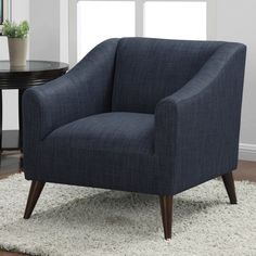 $399 Quincy Blue Linen Upholstered Arm Chair