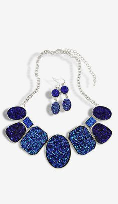 Blue Gemstone Silver Chain Necklace With Earrings Set