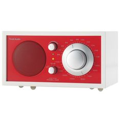 Offering high-fidelity sound in a sleek, modern design, this charming wood radio features a hand-lacquered cabinet, silver knobs, and a vibrantly colored fac...