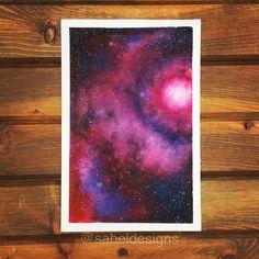 Watercolor Galaxy, Galaxy Painting, Galaxy Art, Watercolor Design, Pink Watercolor, Watercolor Paintings, Watercolors, Small Canvas Art, Unique Wall Clocks