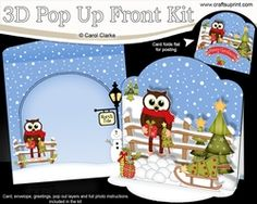 3D Christmas Pop Up Front Card Kit Little Hoot Owl Has A Christmas Present & Tree