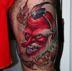 Tengu Tattoo, C Tattoo, Demon Tattoo, Mask Tattoo, Samurai Tattoo, Yakuza Tattoo, Japanese Design, Japanese Art, Japanese Tattoo Art