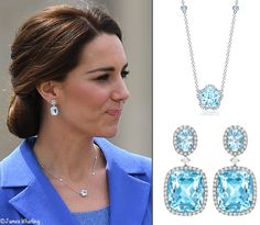 She wore a new necklace from the jeweler's Eden Collection. It is the Blue Topaz and White gold style, featuring a flower-shaped blue topaz set in pavé diamonds Kate also wore the Blue Topaz and Diamond Drop earrings in white gold Kate Middleton Jewelry, Kate Middleton Style, Princesa Diana, Royal Jewelry, Jewelry Sets, Windsor, Berlin, Princesa Kate Middleton, Estilo Real