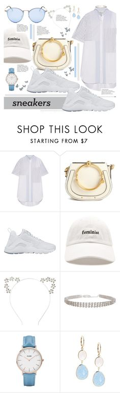 """""""White Sneakers"""" by karolinapl ❤ liked on Polyvore featuring 3.1 Phillip Lim, Chloé, NIKE, Forever 21, Humble Chic, CLUSE, Saks Fifth Avenue and Ray-Ban"""